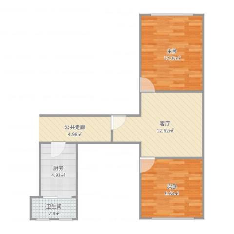 控江五村2室1厅1卫1厨52.00㎡户型图