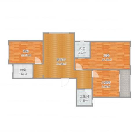 芦墅星苑3室2厅1卫1厨96.00㎡户型图