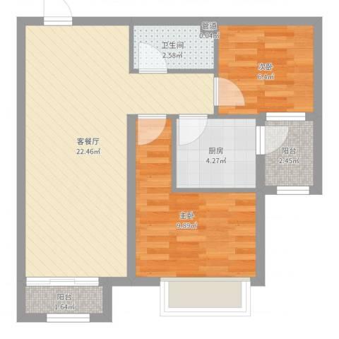 仁泰里2室2厅1卫1厨62.00㎡户型图