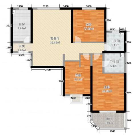 和泰馨和园3室2厅2卫1厨129.00㎡户型图