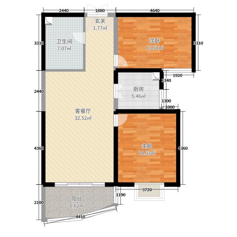 和泰馨和园99.39㎡6#号楼B2-3户型2室2厅1卫1厨