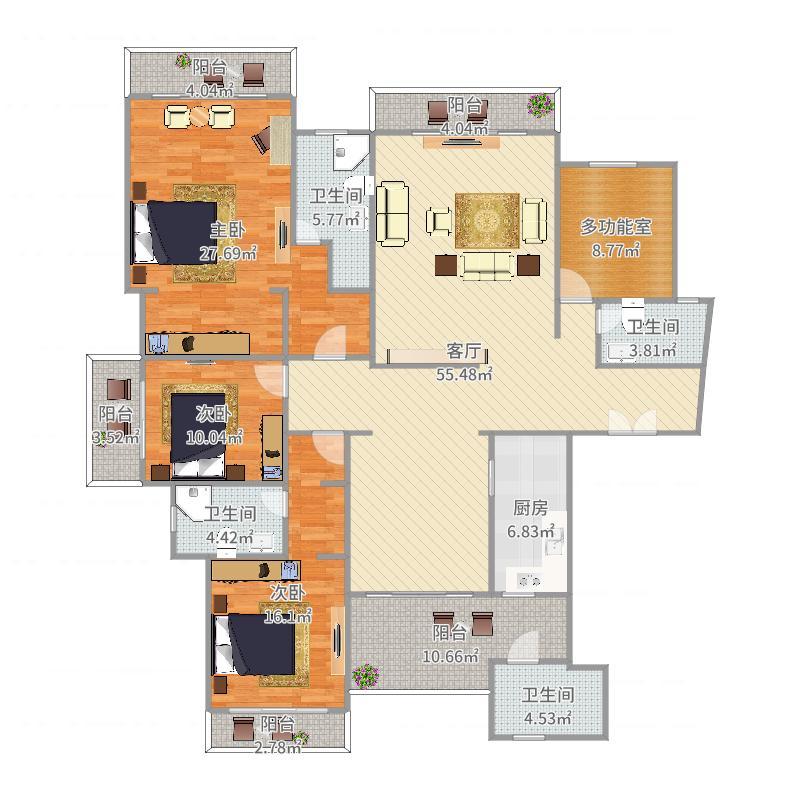 星河湾星座5栋101单元4房2厅鸟瞰图.jpg