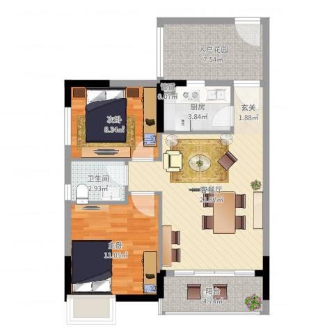 东岸公馆2室2厅1卫1厨75.00㎡户型图