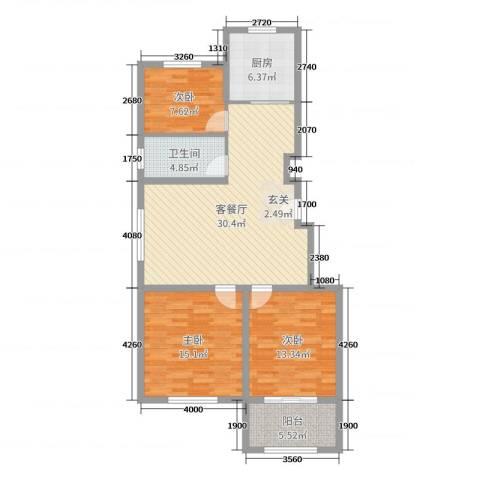 云山华庭3室2厅1卫1厨104.00㎡户型图