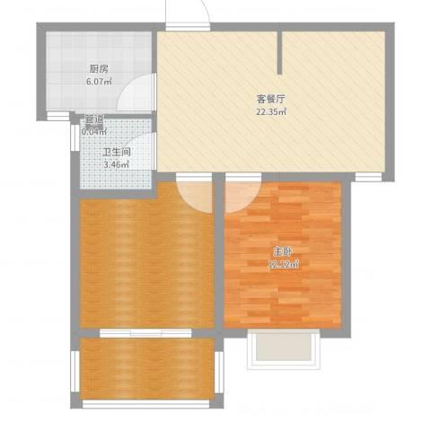 中央花城1室2厅1卫1厨79.00㎡户型图