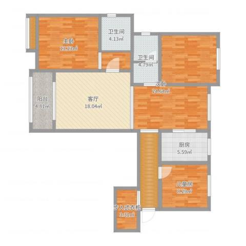 鼓楼上城3室1厅2卫1厨119.00㎡户型图