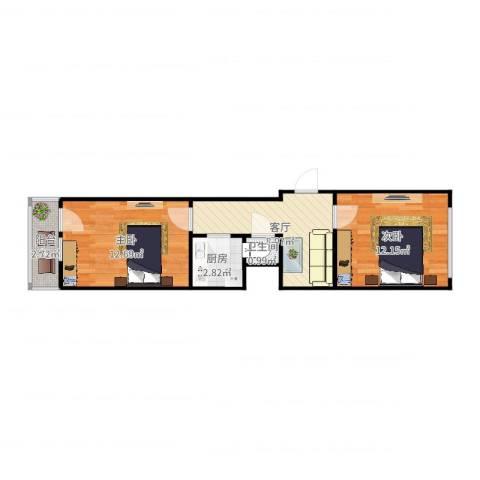四达里3-4012室1厅1卫1厨50.00㎡户型图
