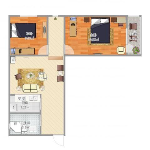 八角北里2室1厅1卫1厨77.00㎡户型图