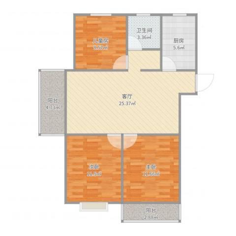 金德花园3室1厅1卫1厨124.00㎡户型图