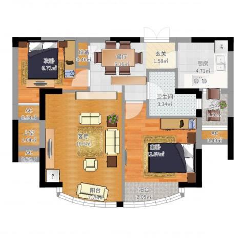 郦城国际2室2厅1卫1厨81.00㎡户型图