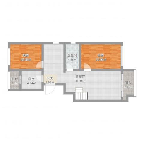 北坞家园2室2厅1卫1厨89.00㎡户型图