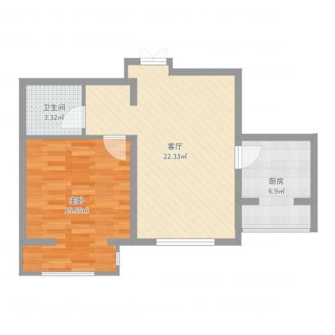 中环福境1室1厅1卫1厨60.00㎡户型图