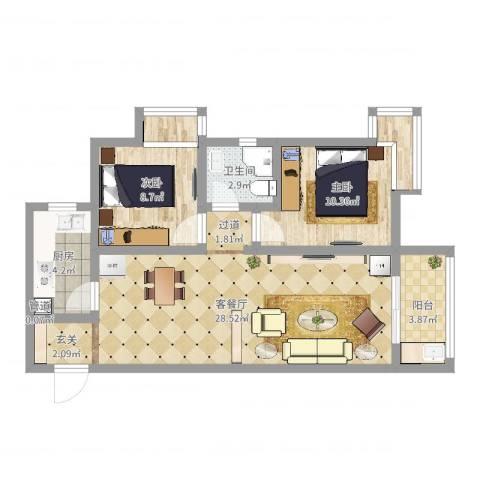 万象湾2室2厅1卫1厨85.00㎡户型图