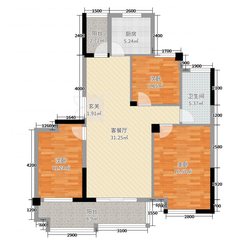 东方新天地115.50㎡C2户型3室3厅1卫1厨