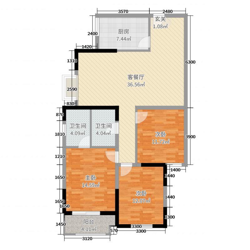 金世纪・花园132.86㎡5#楼02/03户型3室3厅2卫1厨
