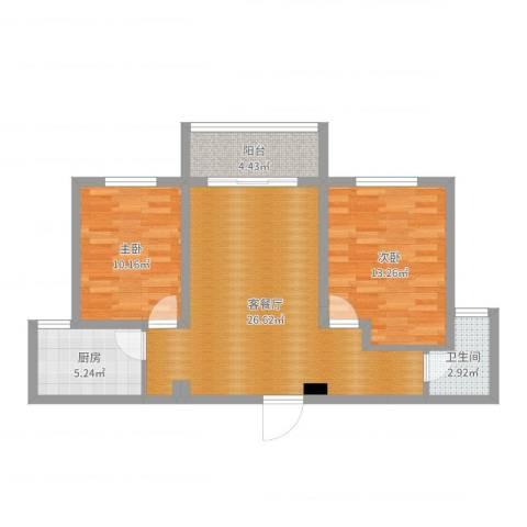 东湖怡景园2室2厅1卫1厨78.00㎡户型图