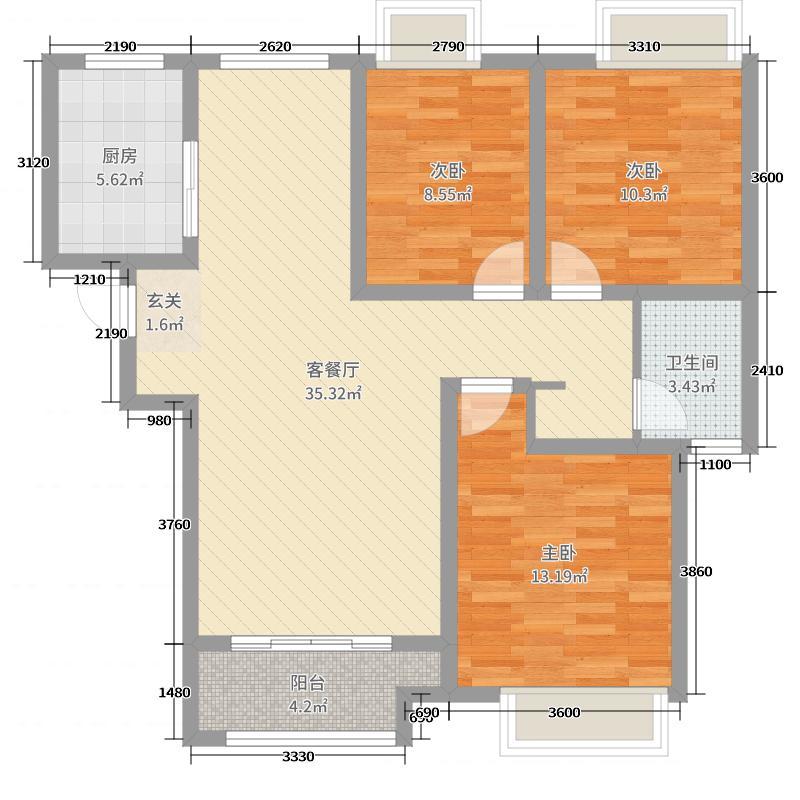 绿地・国际城118.91㎡A1户型3室3厅1卫1厨