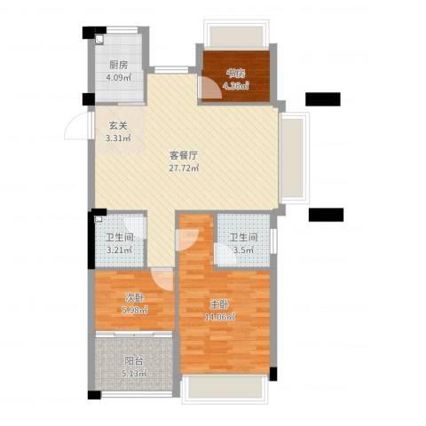 龙都・茗园3室2厅2卫1厨85.00㎡户型图