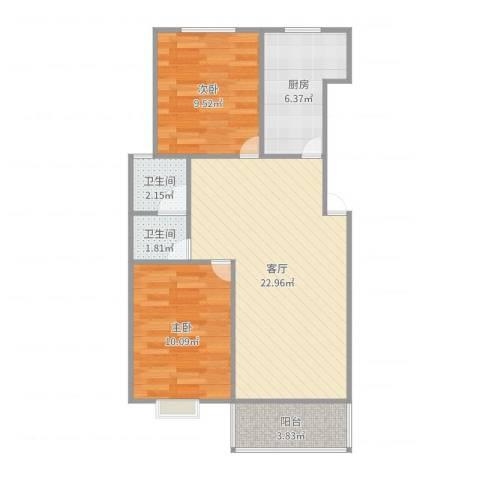 金德花园2室1厅2卫1厨99.00㎡户型图