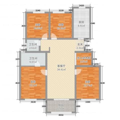 云山华庭4室2厅2卫1厨138.00㎡户型图