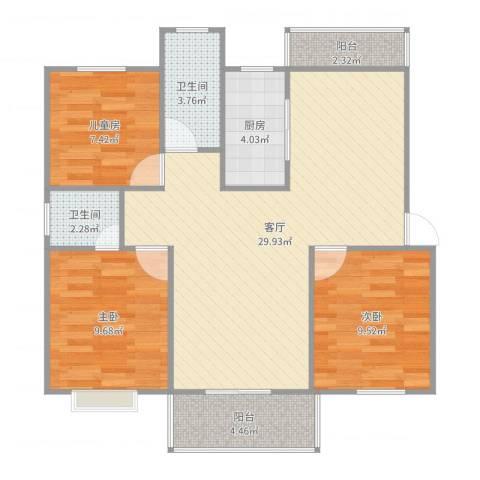 金德花园3室1厅2卫1厨125.00㎡户型图