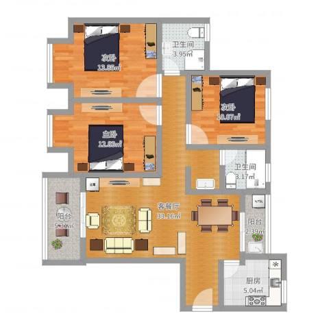 银康苑(三室一厅1)3室2厅2卫1厨112.00㎡户型图