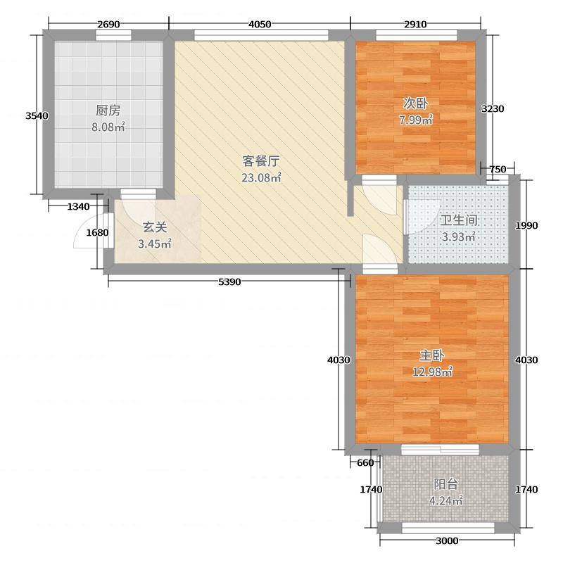 中房绿博景苑75.45㎡一期A3/B1/D1/E3户型2室2厅1卫1厨