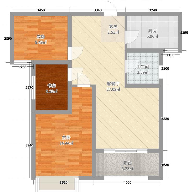 中房绿博景苑87.50㎡一期A2/E2户型3室3厅1卫1厨