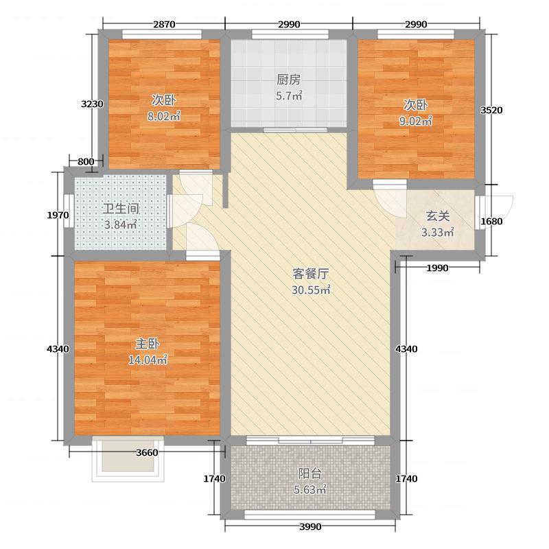 中房绿博景苑96.00㎡一期A1/E1户型3室3厅1卫1厨