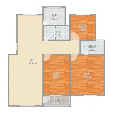 金德花园3室1厅2卫1厨115.00㎡户型图