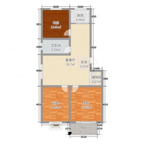 文馨苑小区3室2厅1卫1厨116.00㎡户型图