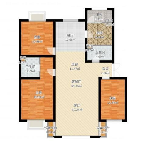 银亿阳光城3室2厅2卫1厨148.00㎡户型图