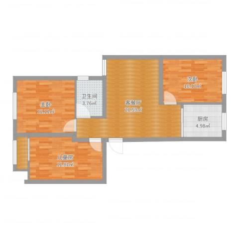 芦秀新苑3室2厅1卫1厨82.00㎡户型图