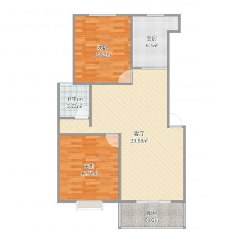金德花园2室1厅1卫1厨108.00㎡户型图