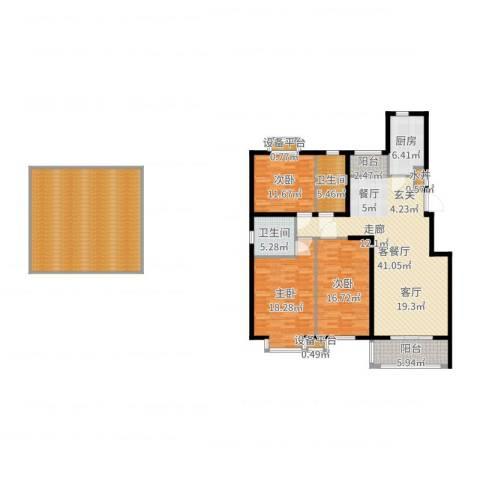 维多利金色华府3室2厅2卫1厨191.00㎡户型图