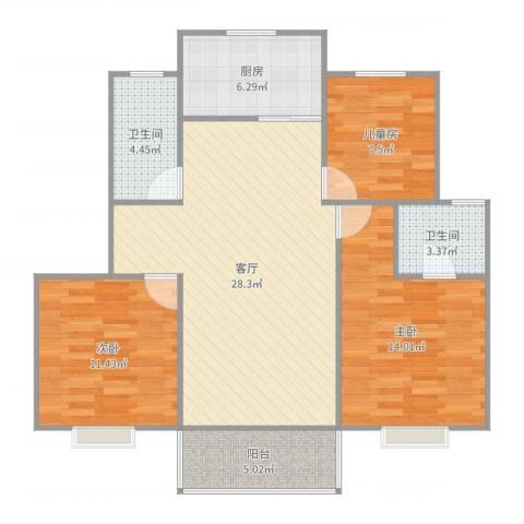 金德花园3室1厅2卫1厨116.00㎡户型图