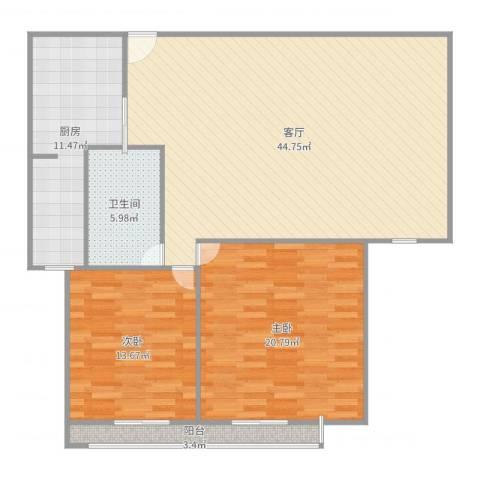 金德花园2室1厅1卫1厨125.00㎡户型图