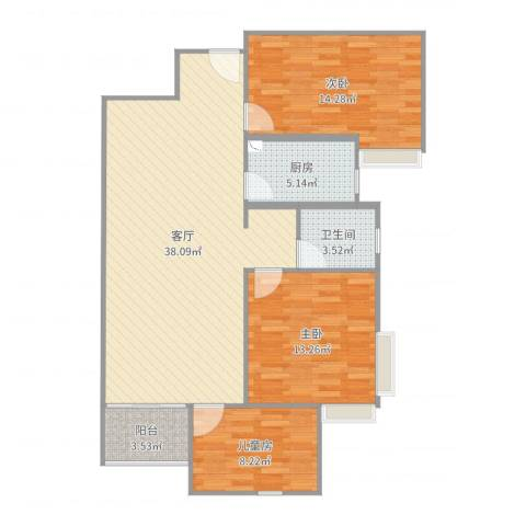 楚香苑3室1厅1卫1厨108.00㎡户型图