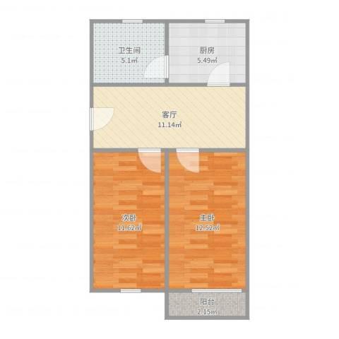 鞍山一村2室1厅1卫1厨60.00㎡户型图