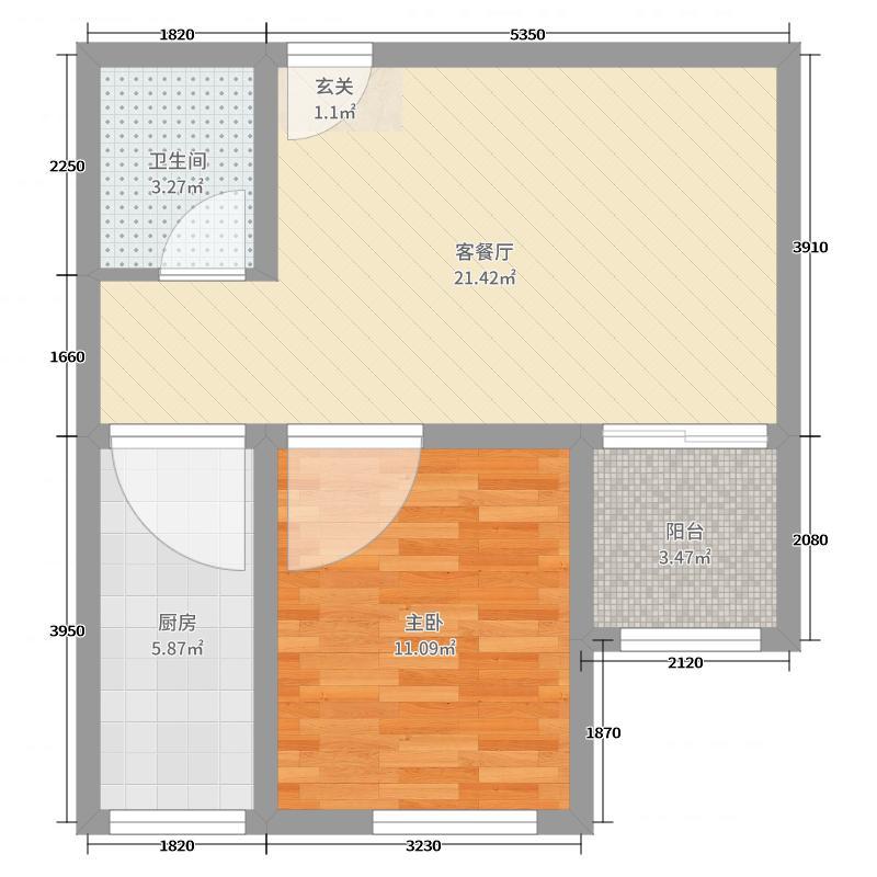 阳光印象56.38㎡3、4、8#户型1室1厅1卫1厨