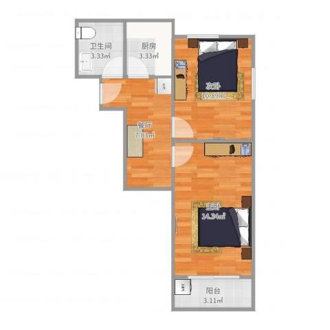 凤城四村2室1厅1卫1厨54.00㎡户型图