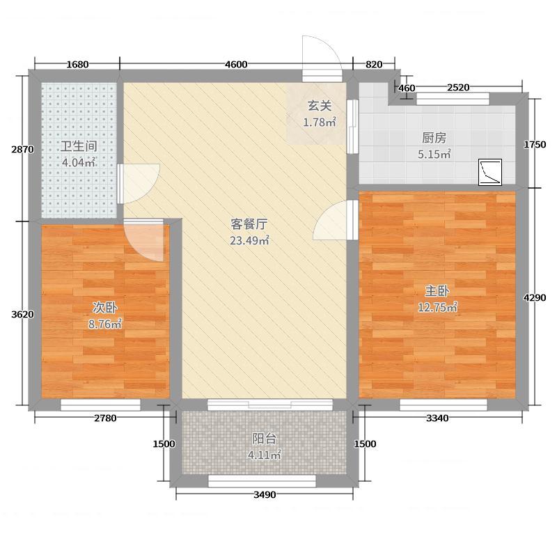 华商金地91.00㎡E户型2室2厅1卫1厨