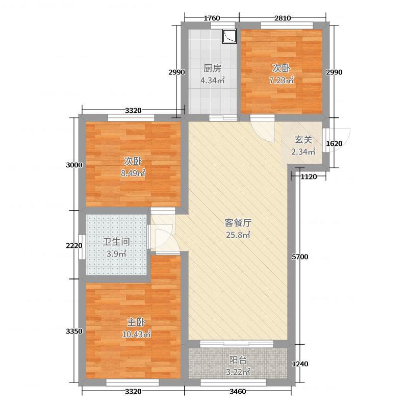 华商金地104.00㎡D户型3室3厅1卫1厨