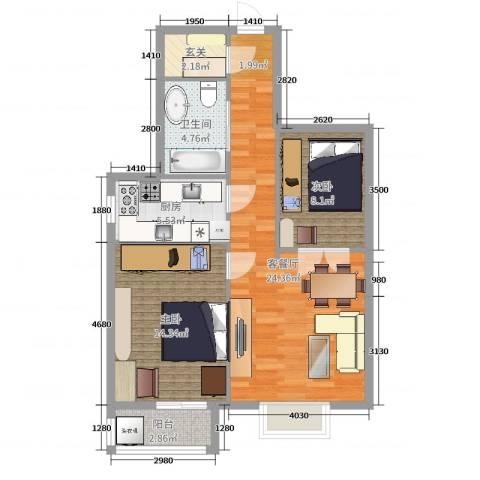 新裕家园2室2厅1卫1厨78.00㎡户型图