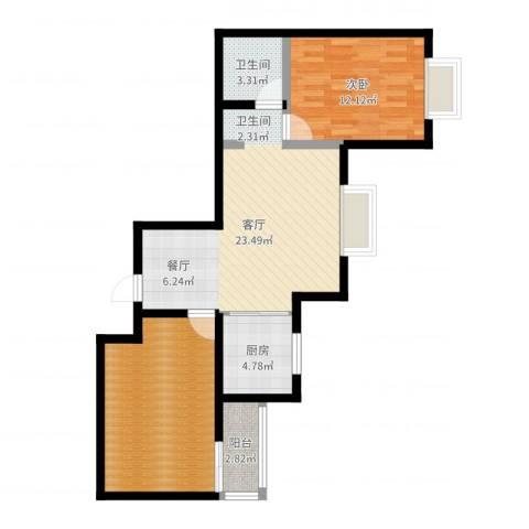 滨东花园二期1室1厅1卫1厨78.00㎡户型图