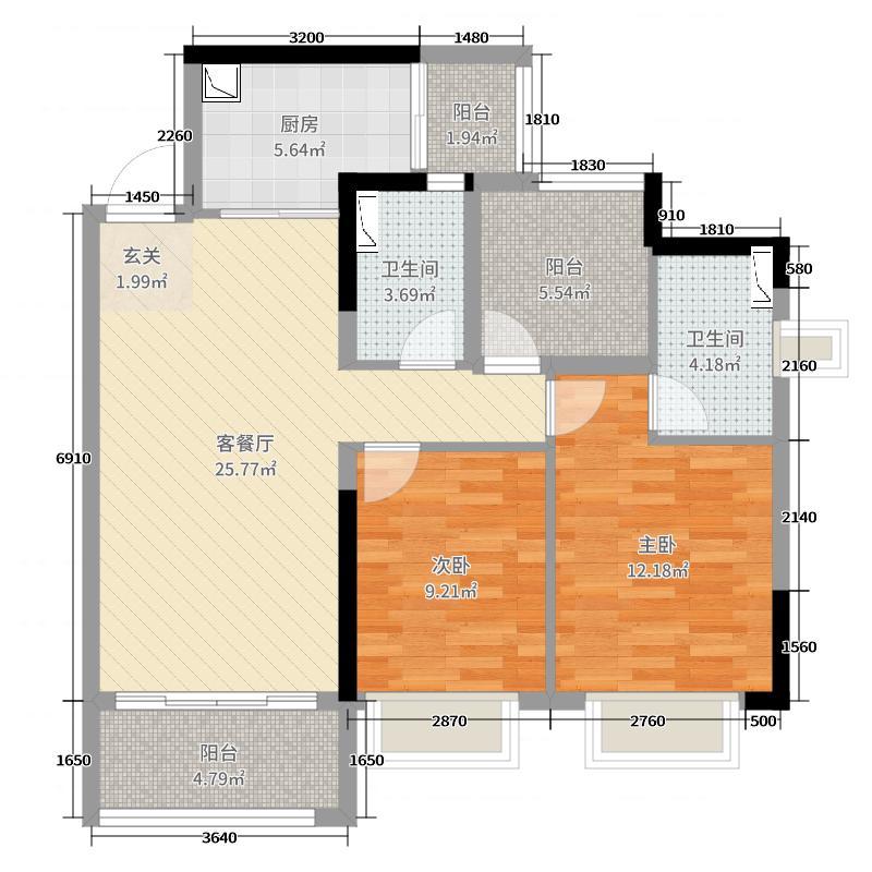 宏鼎・景裕豪园91.00㎡17栋06/07单元户型3室3厅2卫1厨