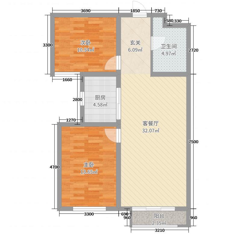 保利・锦江林语95.00㎡E-2B户型2室2厅1卫