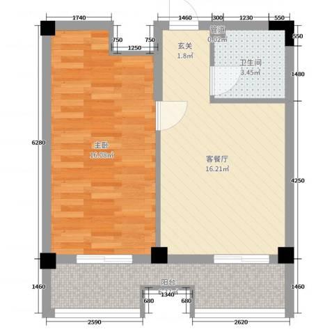 弘生世纪城1室2厅1卫0厨54.00㎡户型图