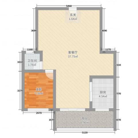 盛祥佳苑1室2厅1卫1厨73.00㎡户型图