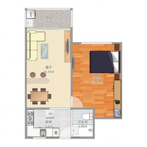 临沂三村1室1厅1卫1厨56.00㎡户型图